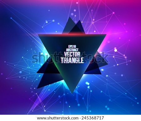 Abstract background with triangle banner. Vector illustration for graphic design. Design for party flyers. - stock vector