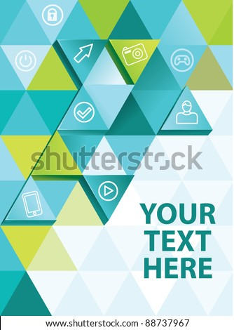 abstract background with triangles and icons - vector illustration - stock vector