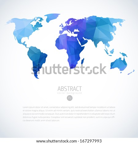 Abstract background with vector world map - stock vector
