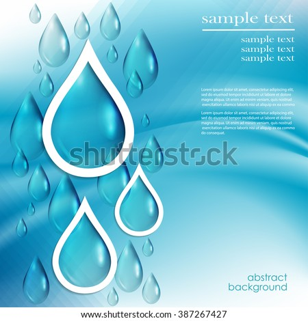 abstract background with water drops on blue, vector. - stock vector