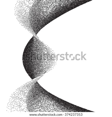 Abstract background with wavy gradient of scattered dots - stock vector
