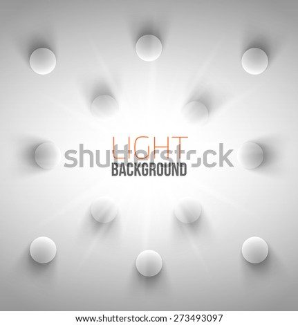 Abstract background with white circles with light and shadow. Vector illustration - stock vector