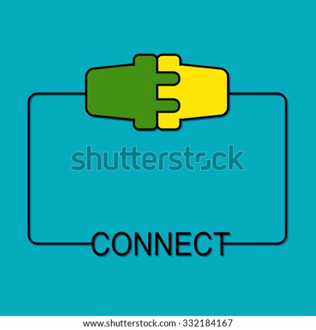Abstract background with wire plug and socket. Concept connection, connection, disconnection, electricity. Frame design - stock vector