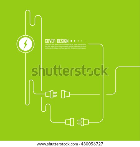 Abstract background with wire plug and socket. Concept connection, disconnection, electricity. - stock vector