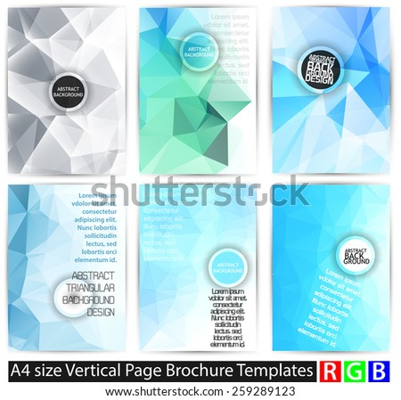 Abstract backgrounds set, brochure & flyer designs, cover templates - stock vector