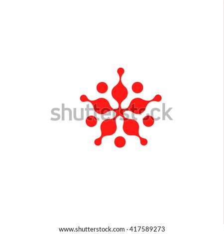 Abstract bacterium spreads. Star shape abstract stylized, red color logo template. Blot, balloons, drop, mud, molecule logo element. Vector isolated modern color logo. Universal company symbol.  - stock vector