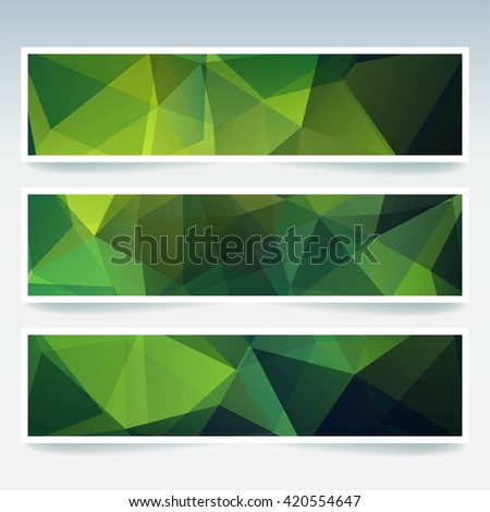 Abstract banner with business design templates.  Set of Banners with polygonal mosaic backgrounds. Geometric triangular vector illustration.  Green color.  - stock vector