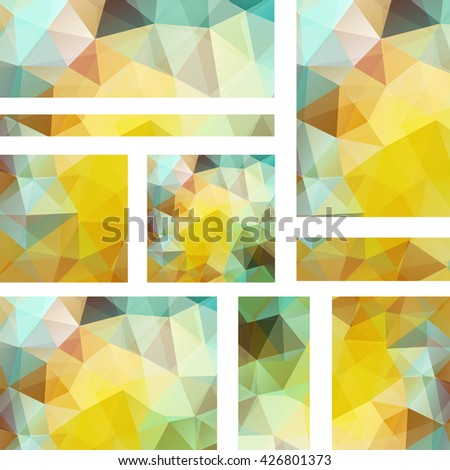 Abstract banner with business design templates.  Set of Banners with polygonal mosaic backgrounds. Geometric triangular vector illustration. Yellow, white, green  colors - stock vector