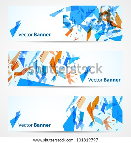 Abstract banners with blue and orange particles. Vector illustration - stock vector