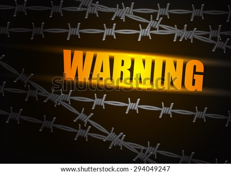 abstract barbed wire on black background - stock vector