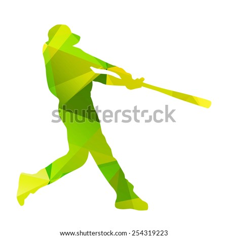 Abstract baseball player silhouette - stock vector
