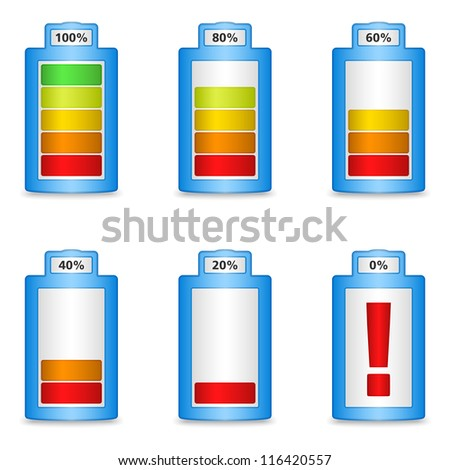 Abstract battery with different level of charge, vector eps10 illustration - stock vector