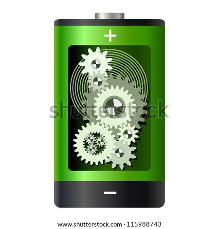 Abstract - battery with gear wheels inside - stock vector