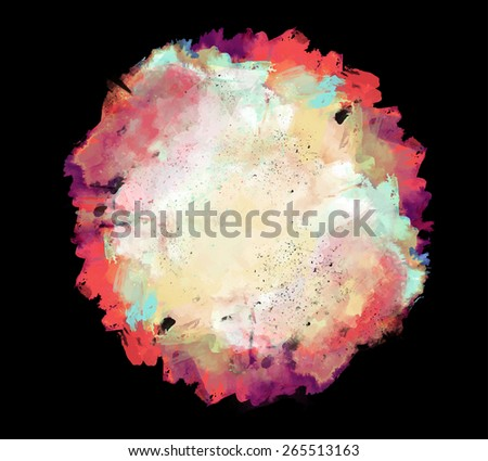 Abstract beautiful colorful bright vector watercolor spot hand painted background. Lilac and magenta and yellow shades on black background. Text template. Spring and summer colors. - stock vector