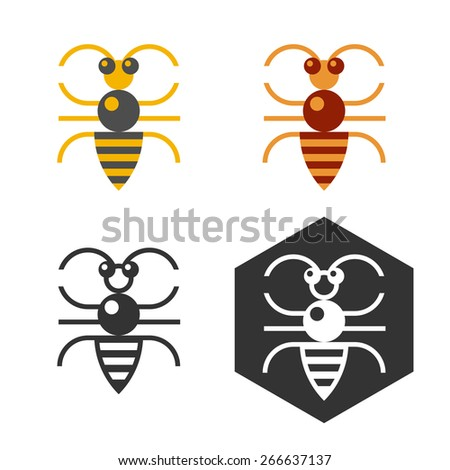 Abstract bee logo set. Flat bee logo made in four variations for web design or printing. - stock vector