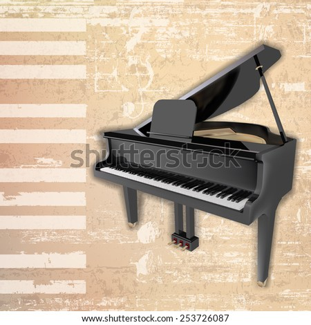 abstract beige grunge background with grand piano - stock vector