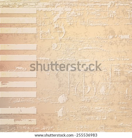 abstract beige grunge background with piano keys - stock vector