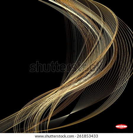 abstract beige line golden wave yellow band on black background. vector illustration - stock vector