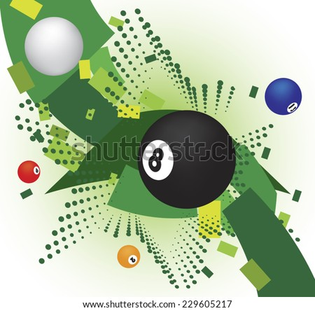 Abstract billiard banner with green star - stock vector