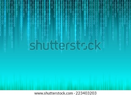 Abstract binary code on blue background of Matrix style. Vector illustration. - stock vector