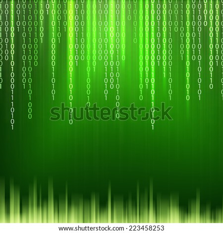 Abstract binary code on green background of Matrix style. Vector illustration. - stock vector