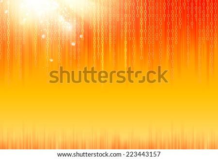Abstract binary code on orange background of Matrix style. Vector illustration. - stock vector