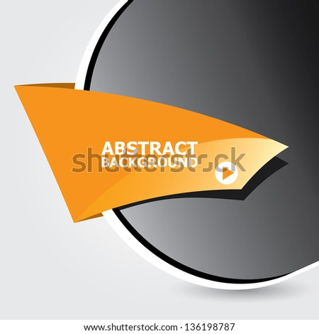 Abstract black and orange modern circle background with origami paper ribbon. Vector modern Speech bubble. Vector abstract background for website or cover design. - stock vector