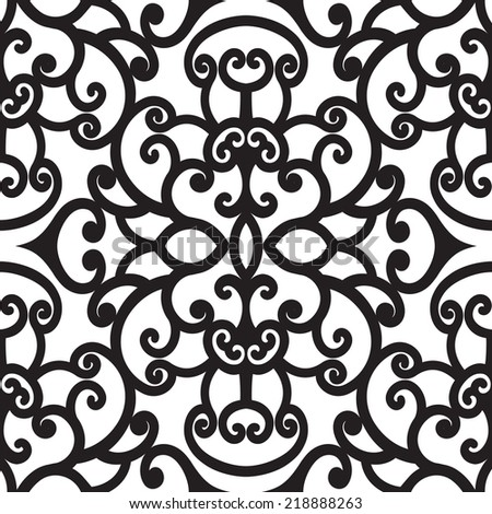 Abstract black and white curly ornament, vector seamless pattern - stock vector