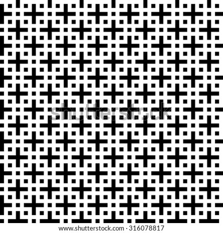 abstract black and white fashion prints patterns made with '+' plus sign - stock vector