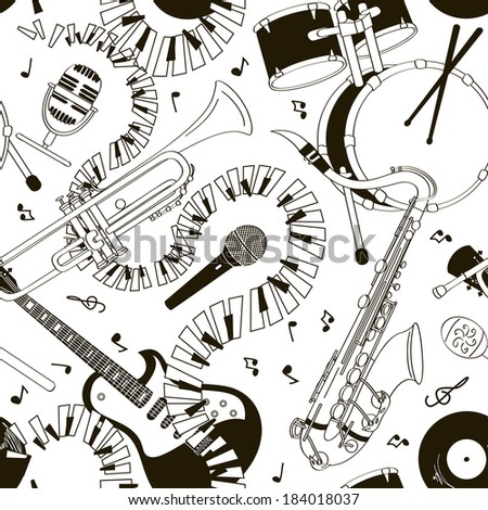 Abstract black and white hand drawn doodle seamless pattern of musical instruments - stock vector