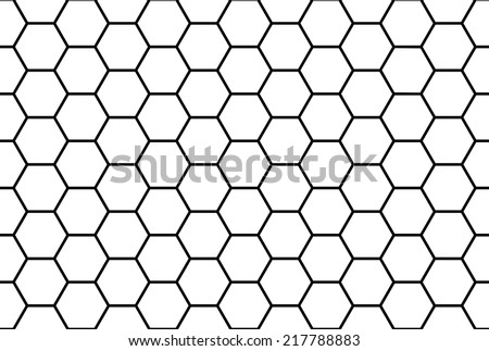 Abstract black and white honeycomb seamless pattern. - stock vector