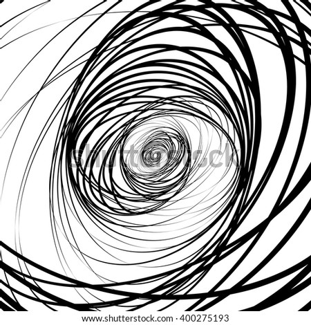 Abstract black and white, monochrome spirally background, pattern with contour lines of random ellipse, oval shapes. Abstract chaotic contemporary art like, artistic image. - stock vector