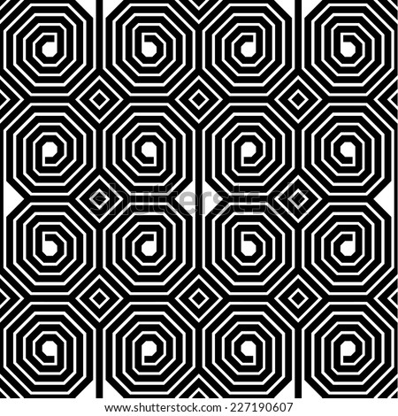 Abstract Black and White Octagon Spiral Vector Seamless Pattern Background Texture - stock vector