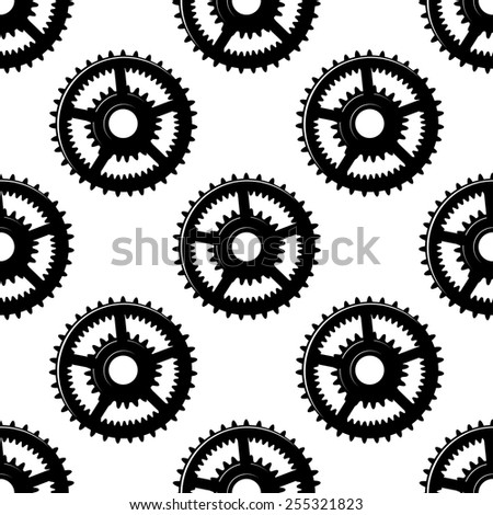 Abstract black and white seamless pattern with gear wheels suitable for mechanical or machinery background design - stock vector