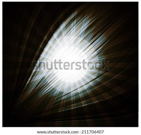 Abstract black background Beautiful rays of light - stock vector