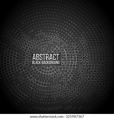 Abstract black background of circle pattern texture vector - stock vector
