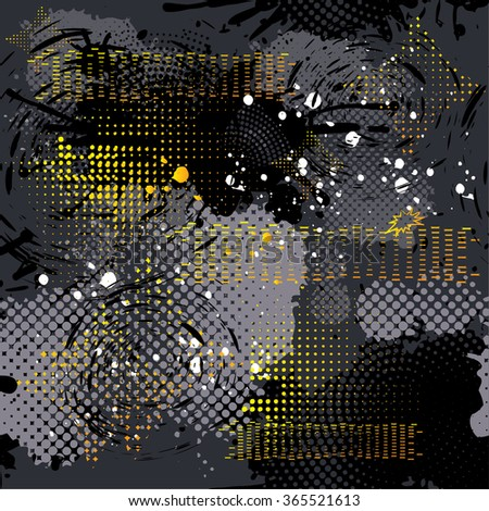 Abstract black background with grey and yellow elements. Seamless pattern with grunge texture. Urban background wallpaper with shabby, lines, arrows, dots. Pattern for boys. - stock vector