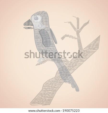 Abstract  black bird on tree. Vector EPS 10. - stock vector