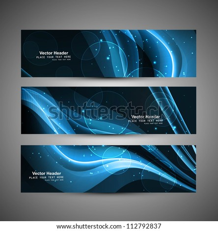 abstract black bright blue colorful wave header set vector - stock vector