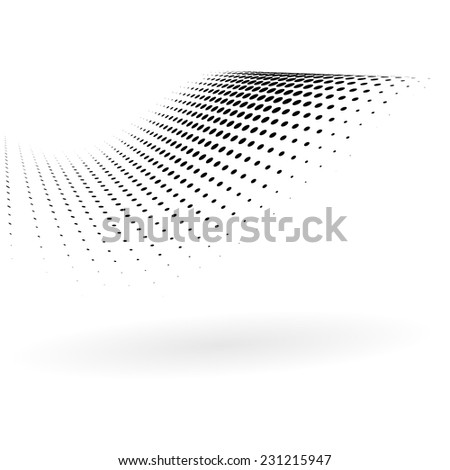 Abstract black dots curved background - stock vector