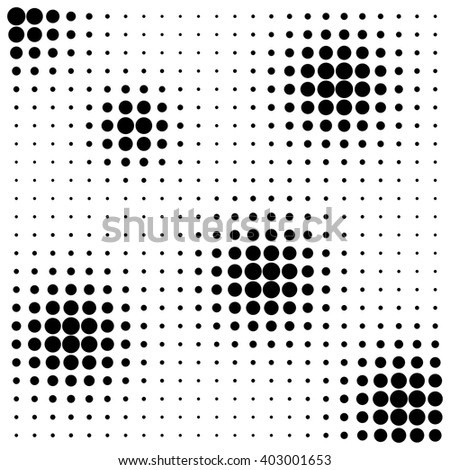 Abstract black dots halftone splots on white background - stock vector