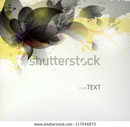 abstract black flower with blots. Vector design - stock vector