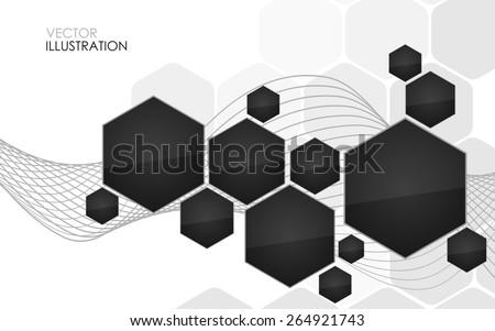 Abstract black hexagon. Vector Illustration. Clip-art - stock vector