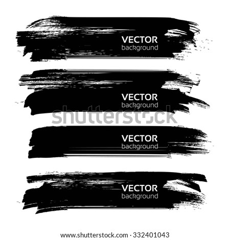 Abstract black long thick textured brush strokes isolated on white background - stock vector