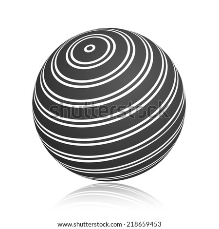 Abstract black stripe planet sphere. Isolated on a white background. Vector illustration, eps 10. - stock vector