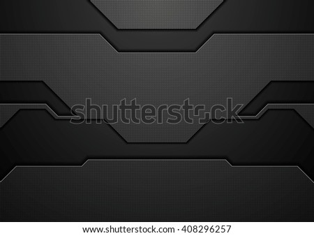 Abstract black technology concept graphic design. Vector template dark background - stock vector