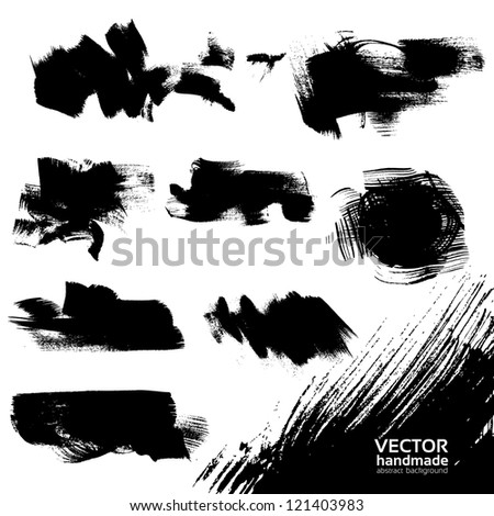 Abstract black vector backgrounds set textured draw by brush and ink - stock vector