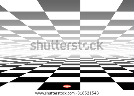abstract black white chess board with perspective with reflection isolated on white background. vector illustration - stock vector