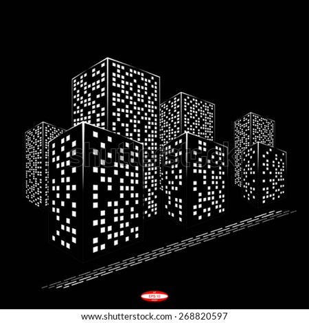 abstract black white city graphical silhouette isolated on black background. vector illustration - stock vector