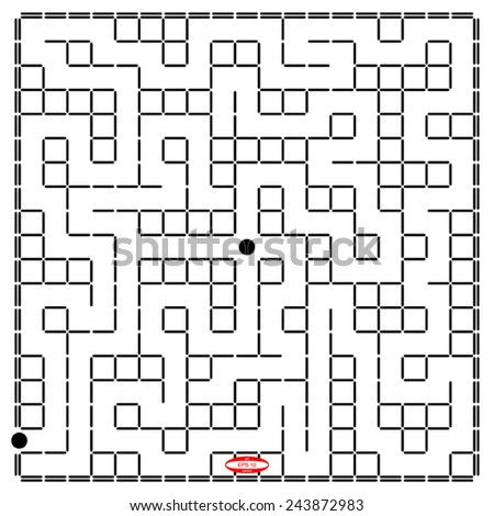 abstract black white labyrinth black white pattern of naze isolated on white background vector - stock vector